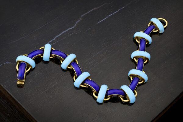 Enamel And Gold Link Bracelet