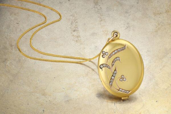 Antique Gold And Rose Cut Diamond Set Locket