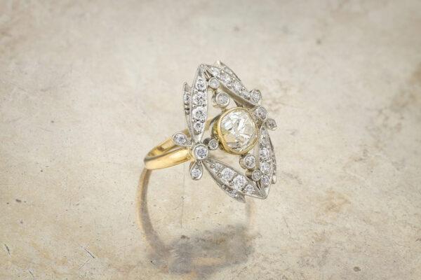 Antique Diamond And Platinum Foliate Motif Ring