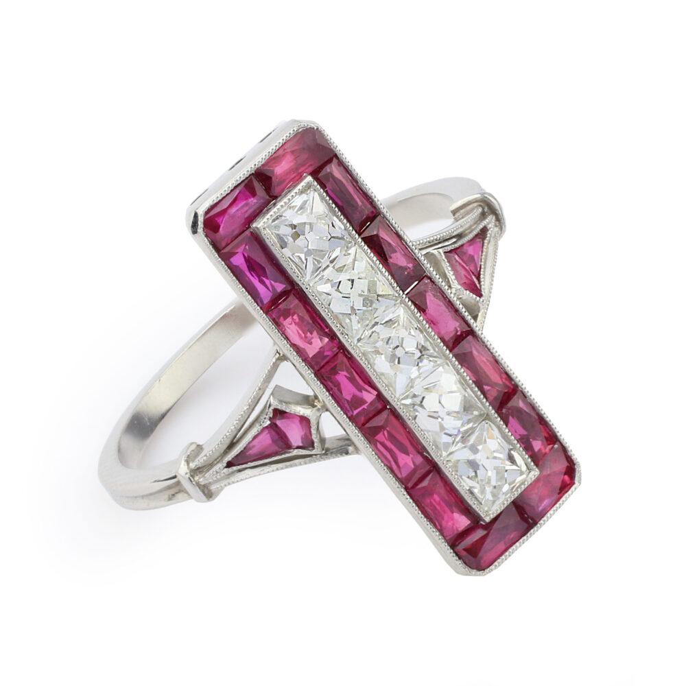 Art Deco Platinum, Ruby and Diamond Ring