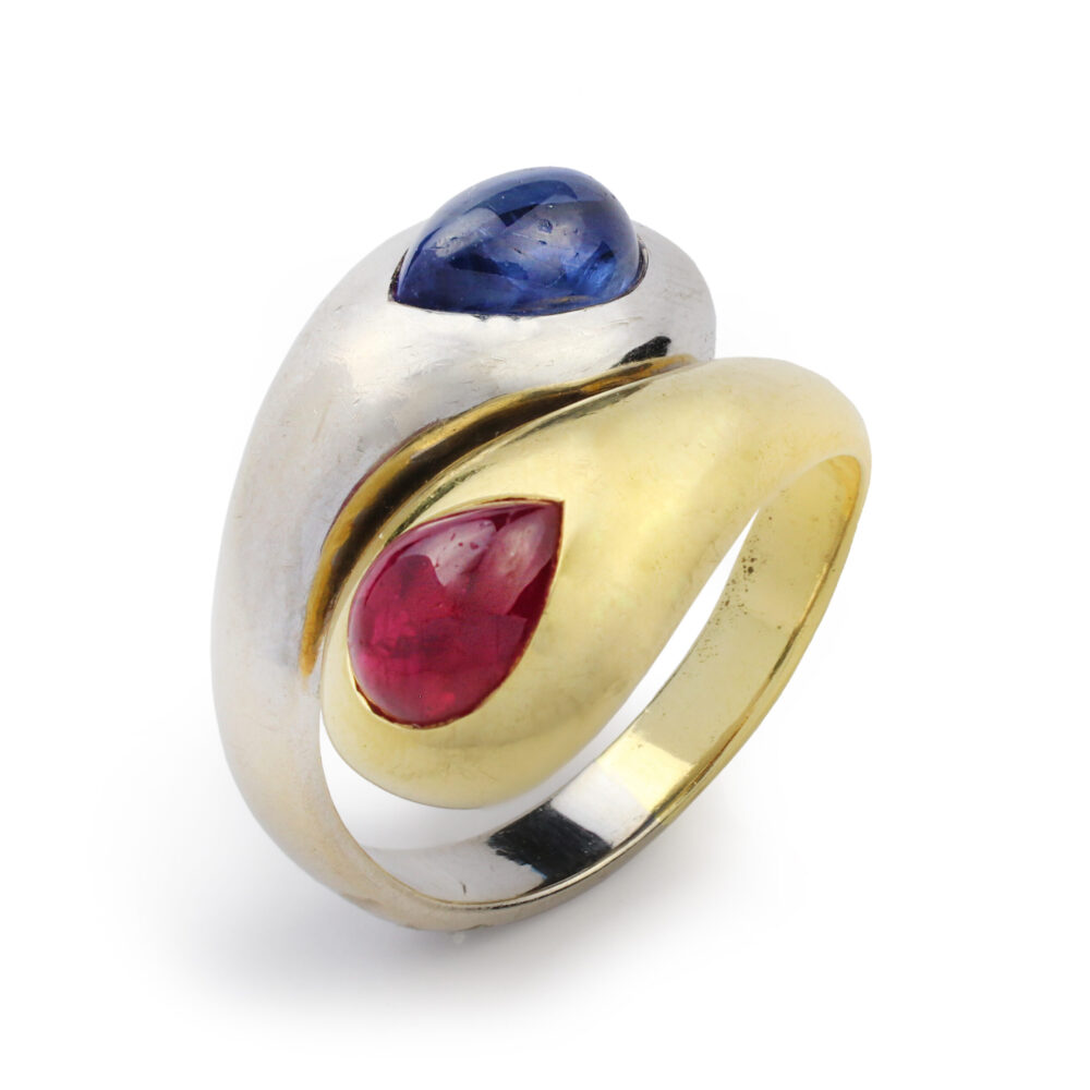 Hemmerle Ruby and Sapphire Toi et Moi Gold Ring