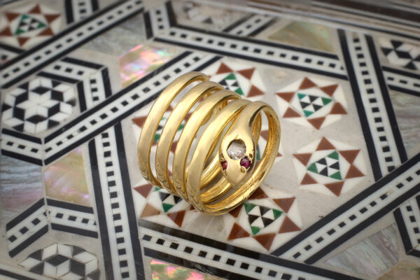 Diamond And Ruby Set Sculpted Gold Snake Ring