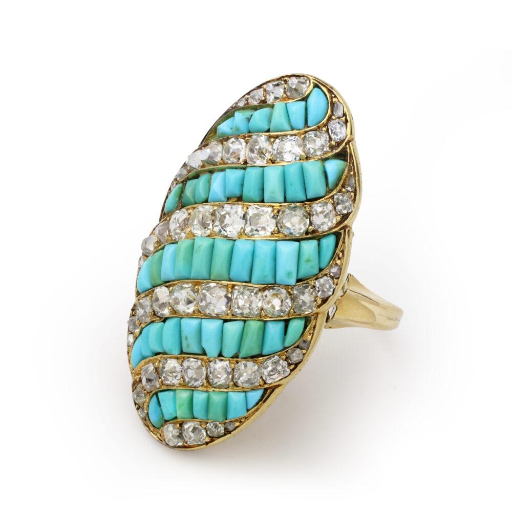Antique Turquoise and Diamond Plaque Ring