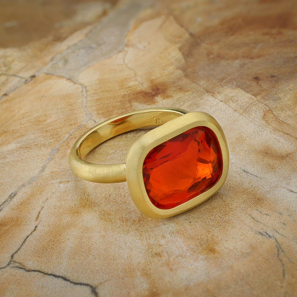 Fire Opal and Gold Ring