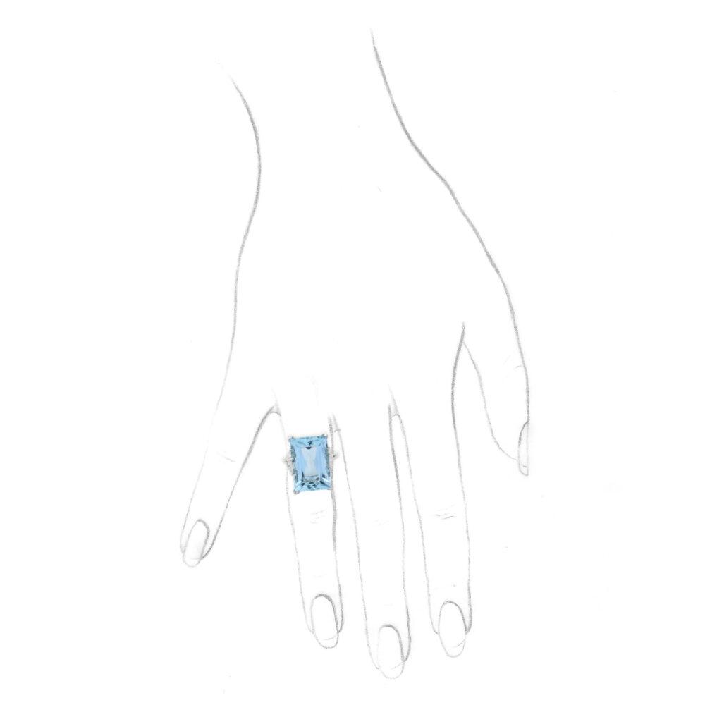 Platinum, Aquamarine and Diamond Cocktail Ring