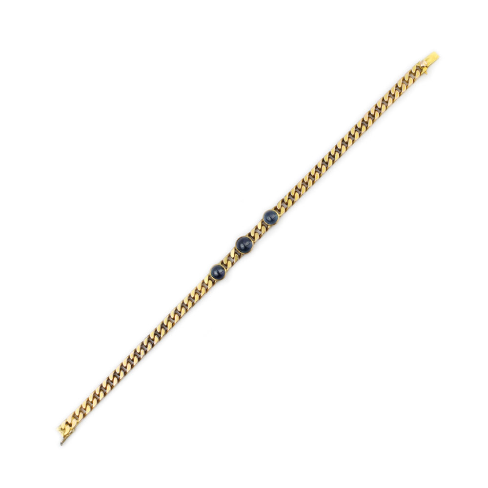 Antique Sapphire and Gold Chain Bracelet