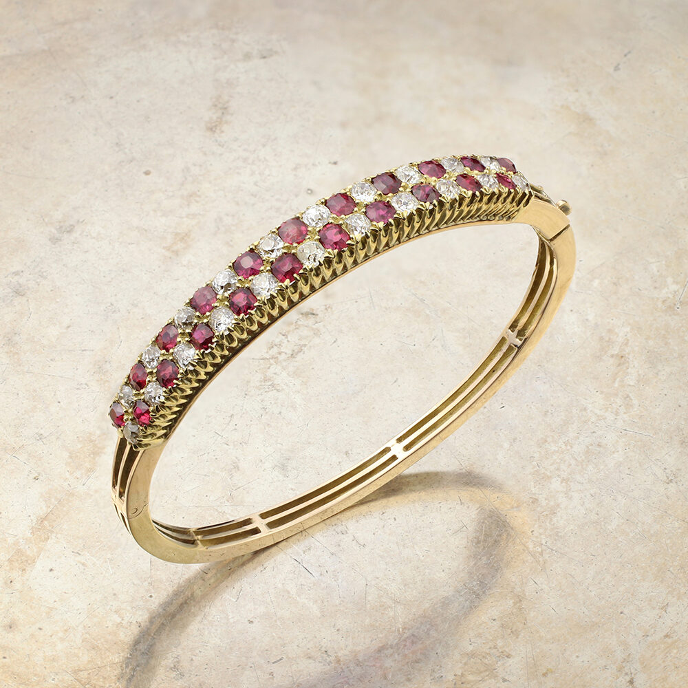 Antique Ruby and Diamond 'Checkerboard' Bangle Bracelet
