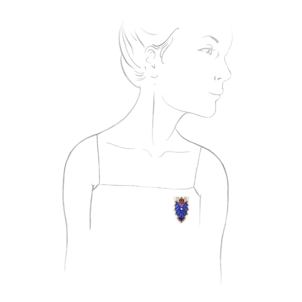 Art Deco Cartier Lapis Lazuli, Ruby and Enamel Clip Brooch