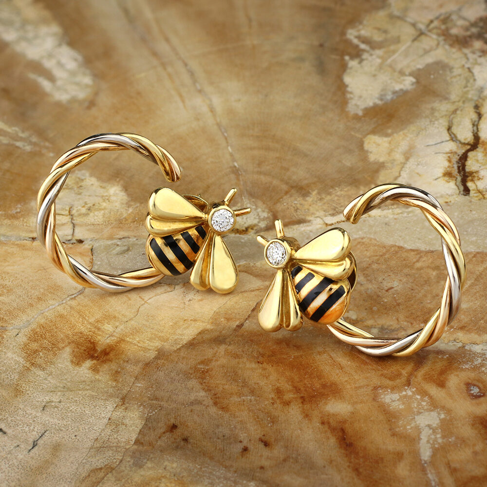 Cartier Tricolor Gold and Diamond Bumble Bee Earrings