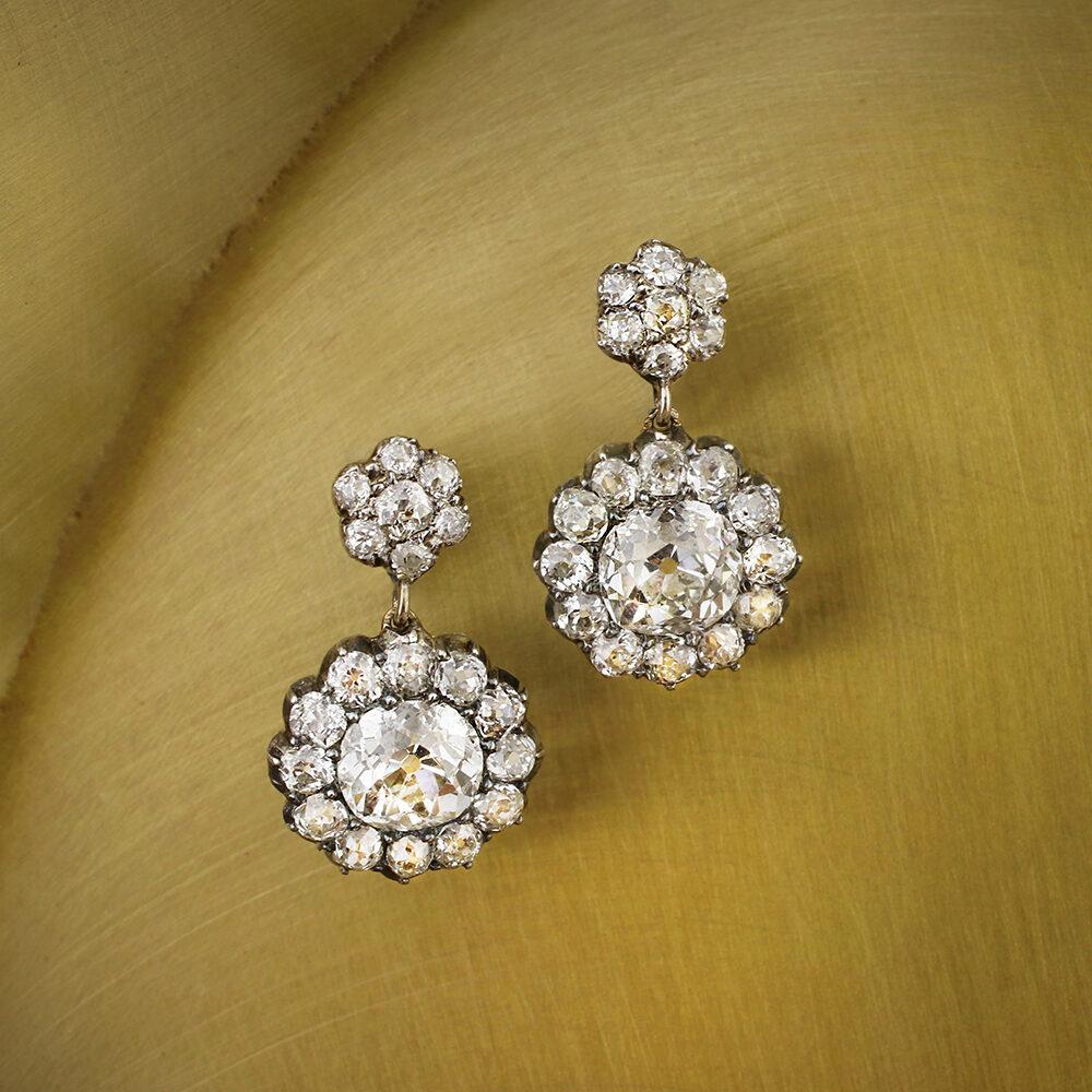 Diamond Set Floral Earrings