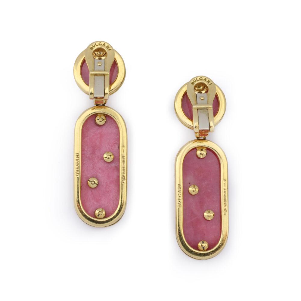 Bulgari Gold and Rhodochrosite Ear Pendants