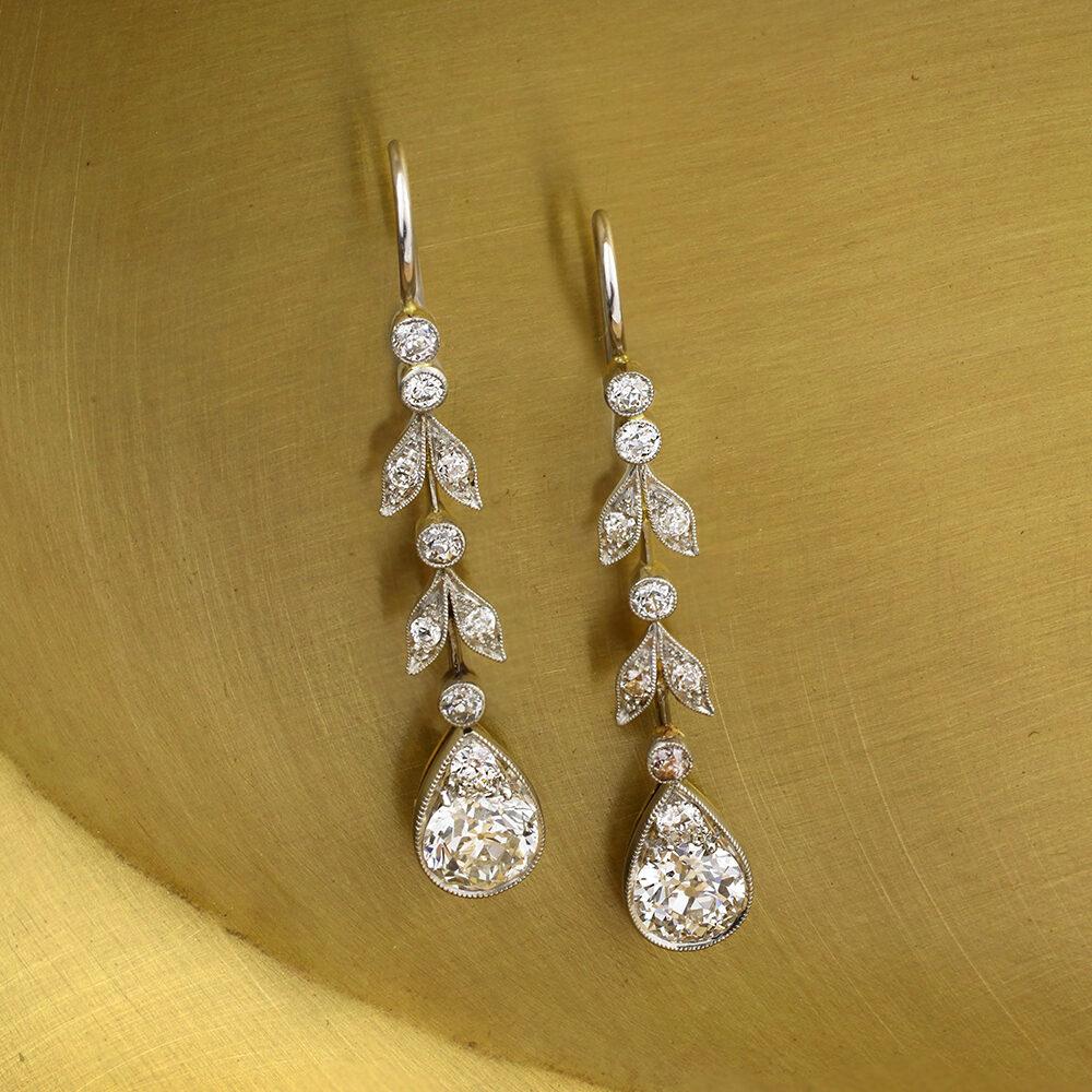 Antique Diamond Set Pendant Earrings