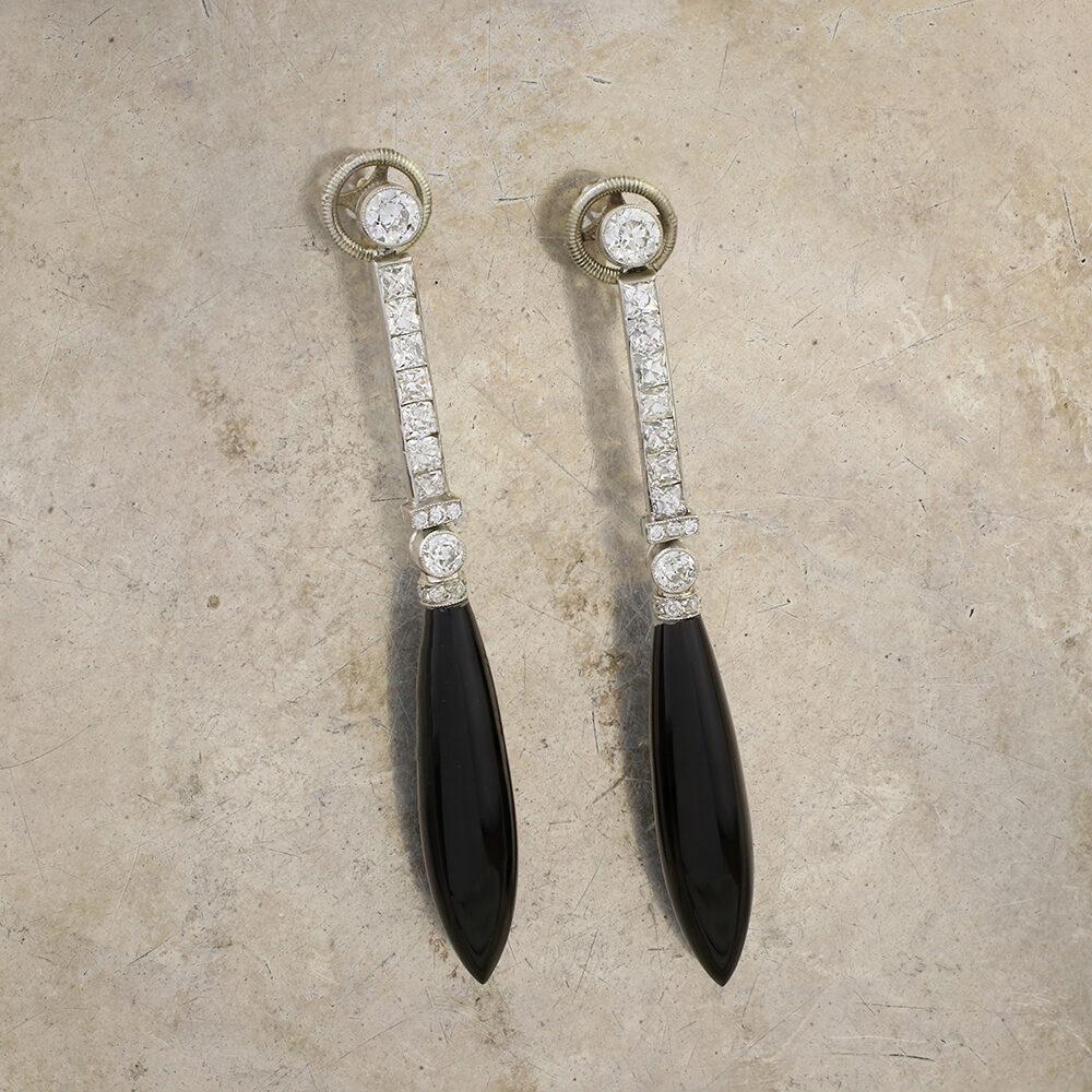 Van Cleef & Arpels, Art Deco Onyx and Diamond Ear Pendants