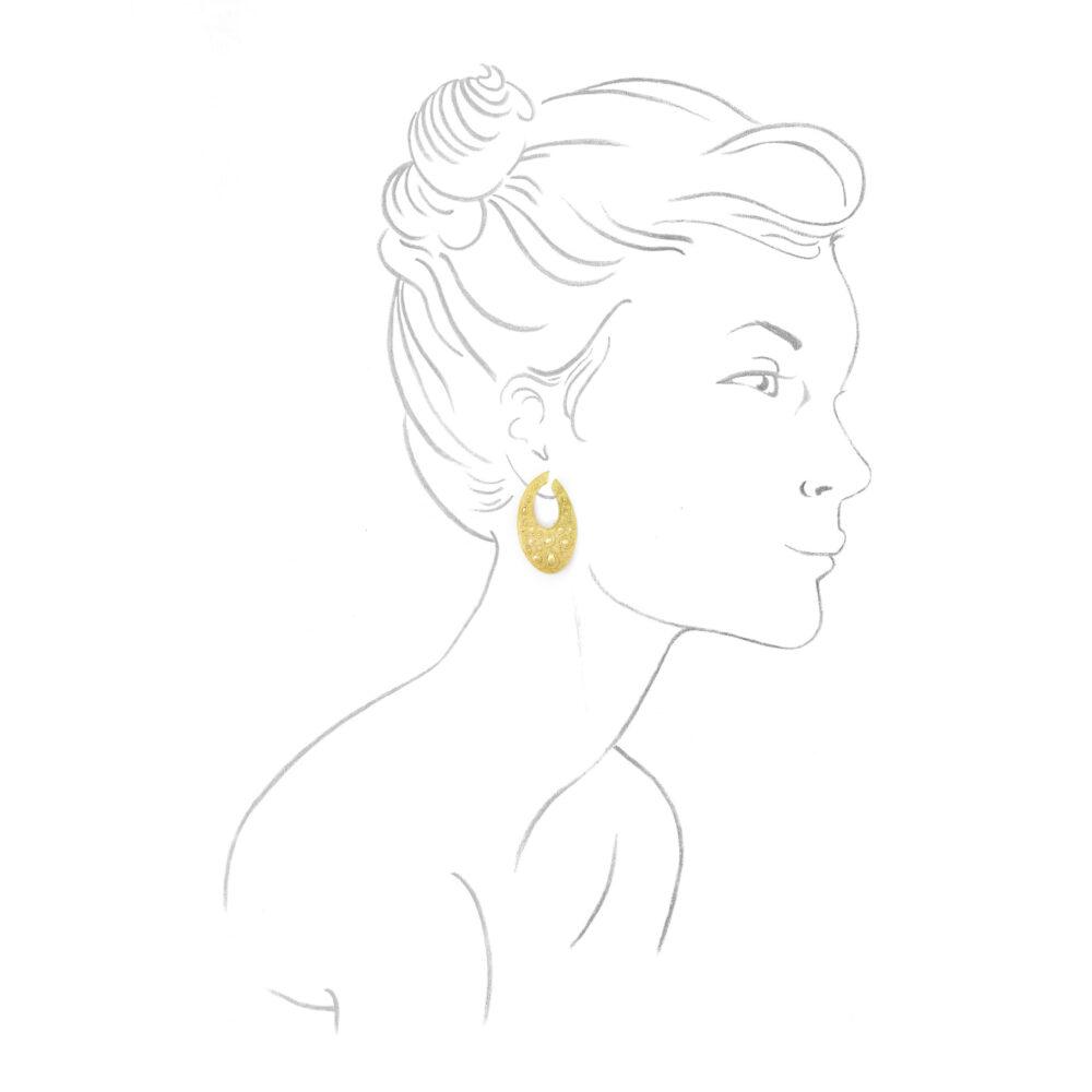 Van Cleef & Arpels Texture Gold Creole Hoop Earrings