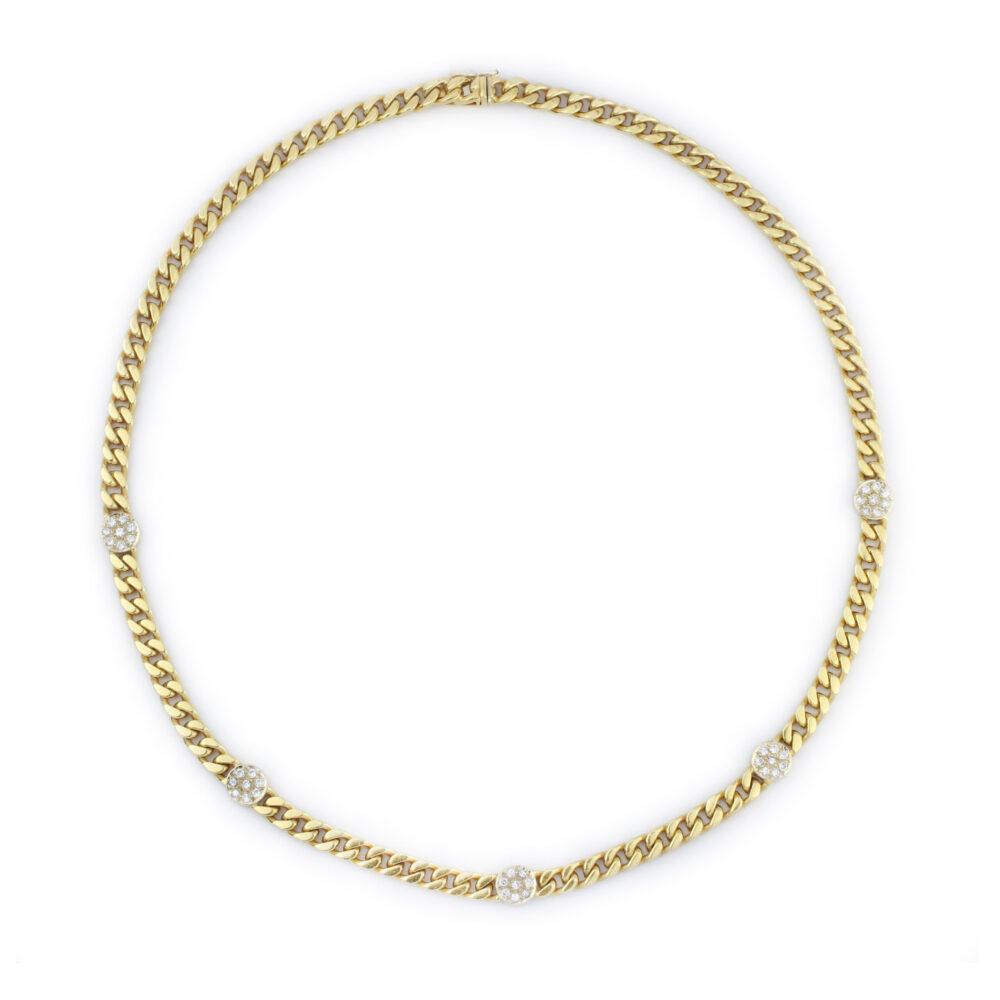 Diamond Set Gold Chain Necklace