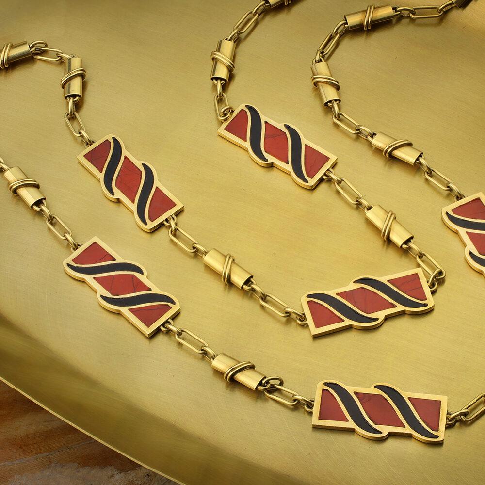 Bulgari Jasper, Onyx and Gold Chain Necklace