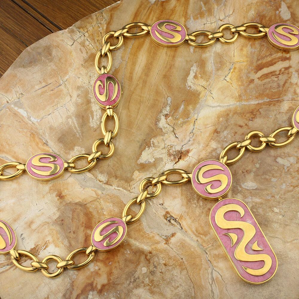 Bulgari Gold and Rhodochrosite Pendant Necklace