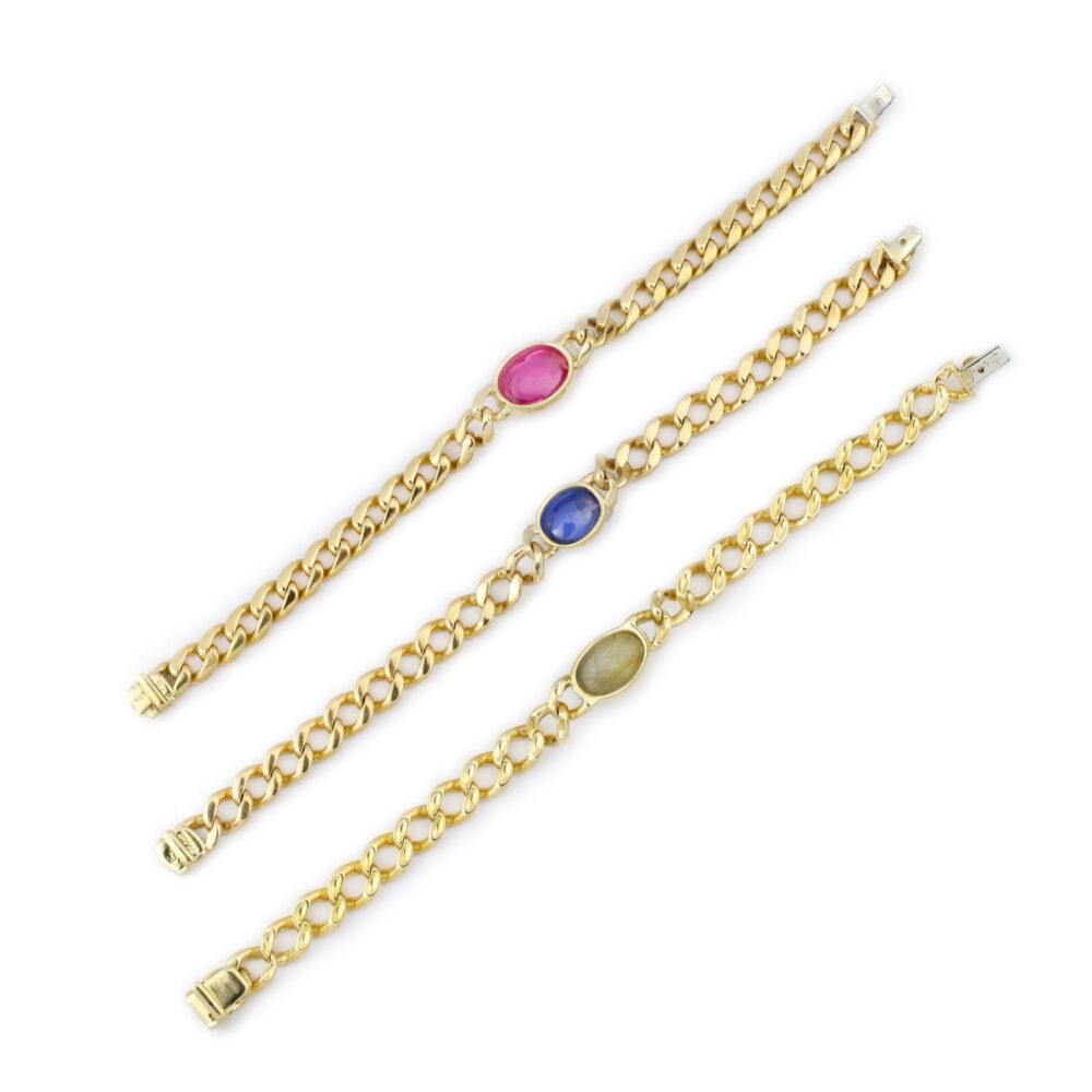 Bulgari Set of Three Multi-Gem and Gold Chain Bracelets