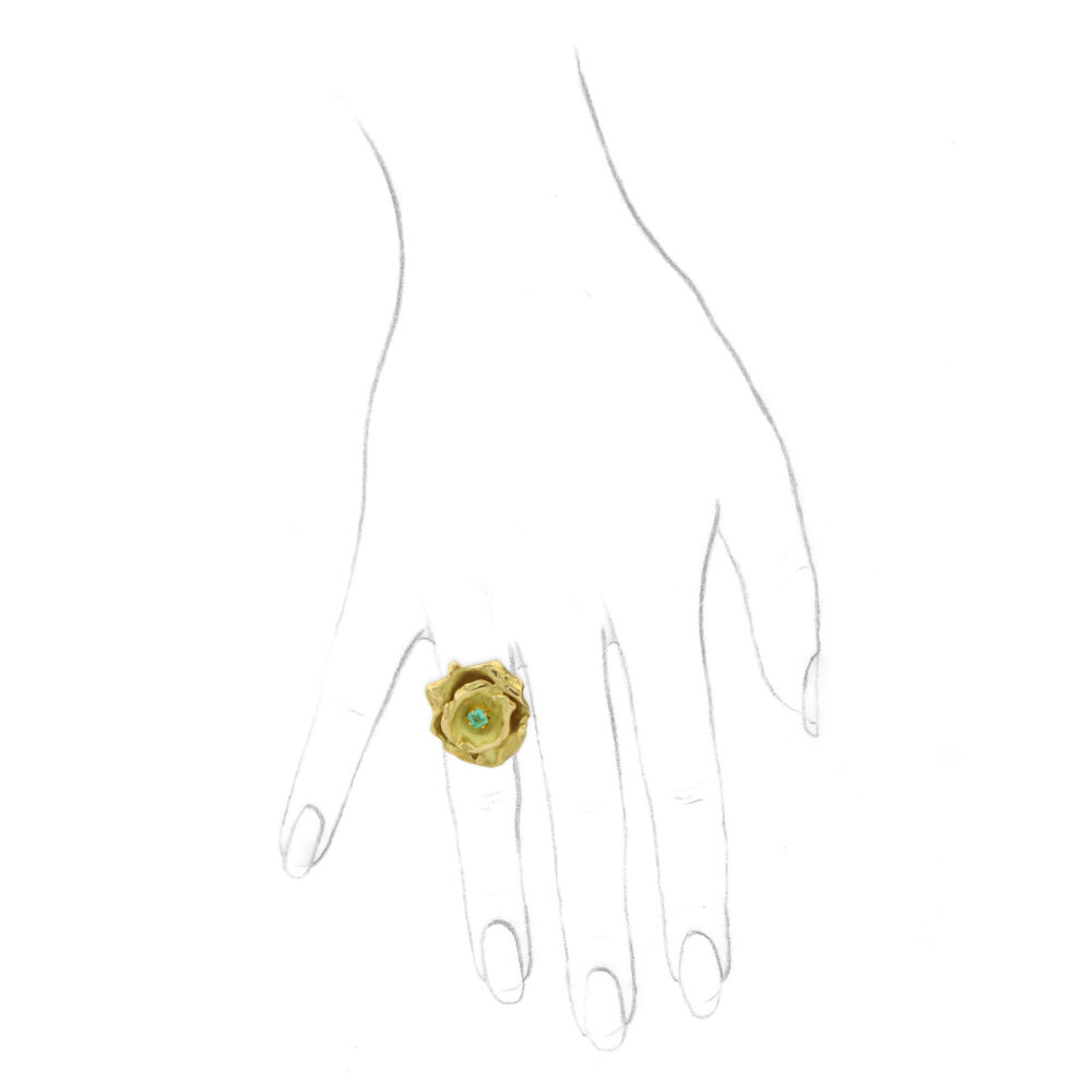 Aude Lechere, 'Nymphea Collection' Gold and Garnet Ring, circa 2010