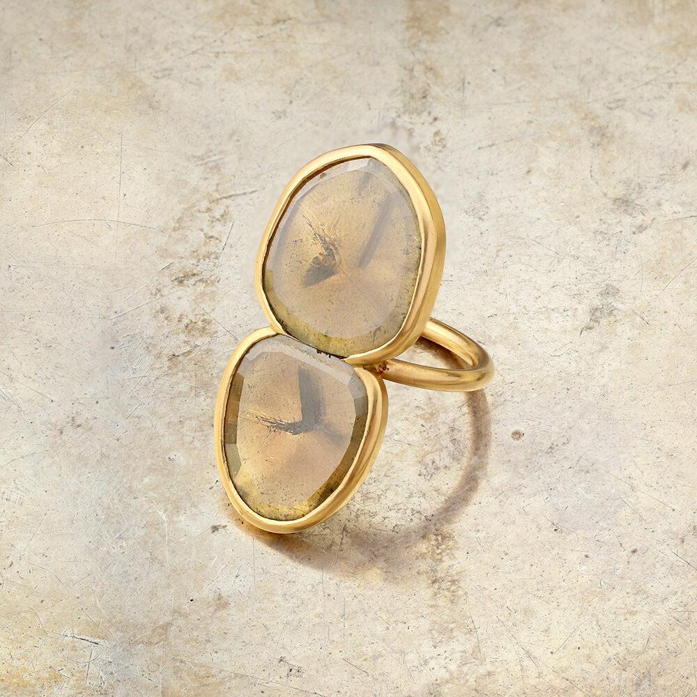 Twin Stone Fancy Portrait Cut Diamond Ring, contemporary
