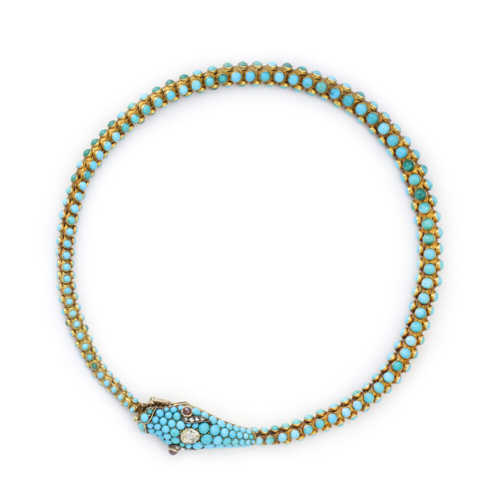 Antique Turquoise, Diamond and Garnet Snake Necklace