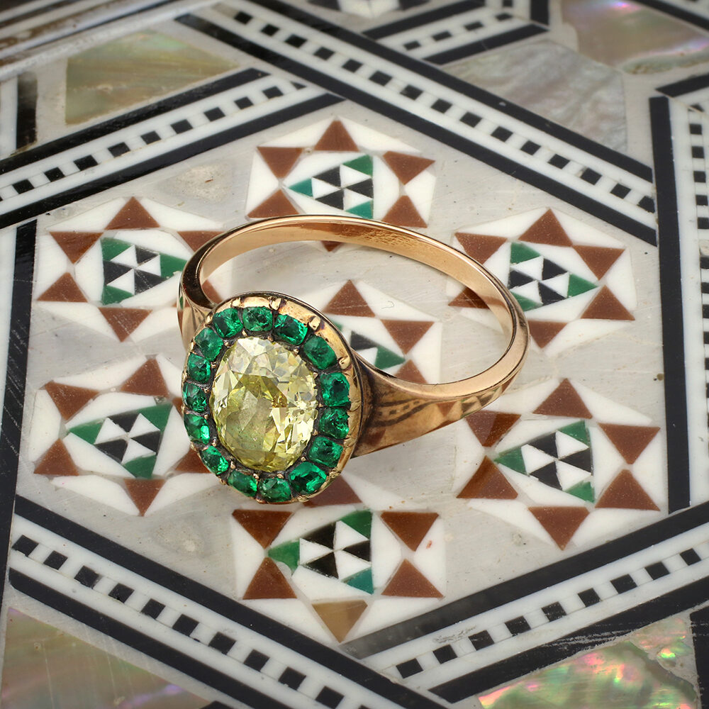 Antique Colored Diamond and Emerald Ring