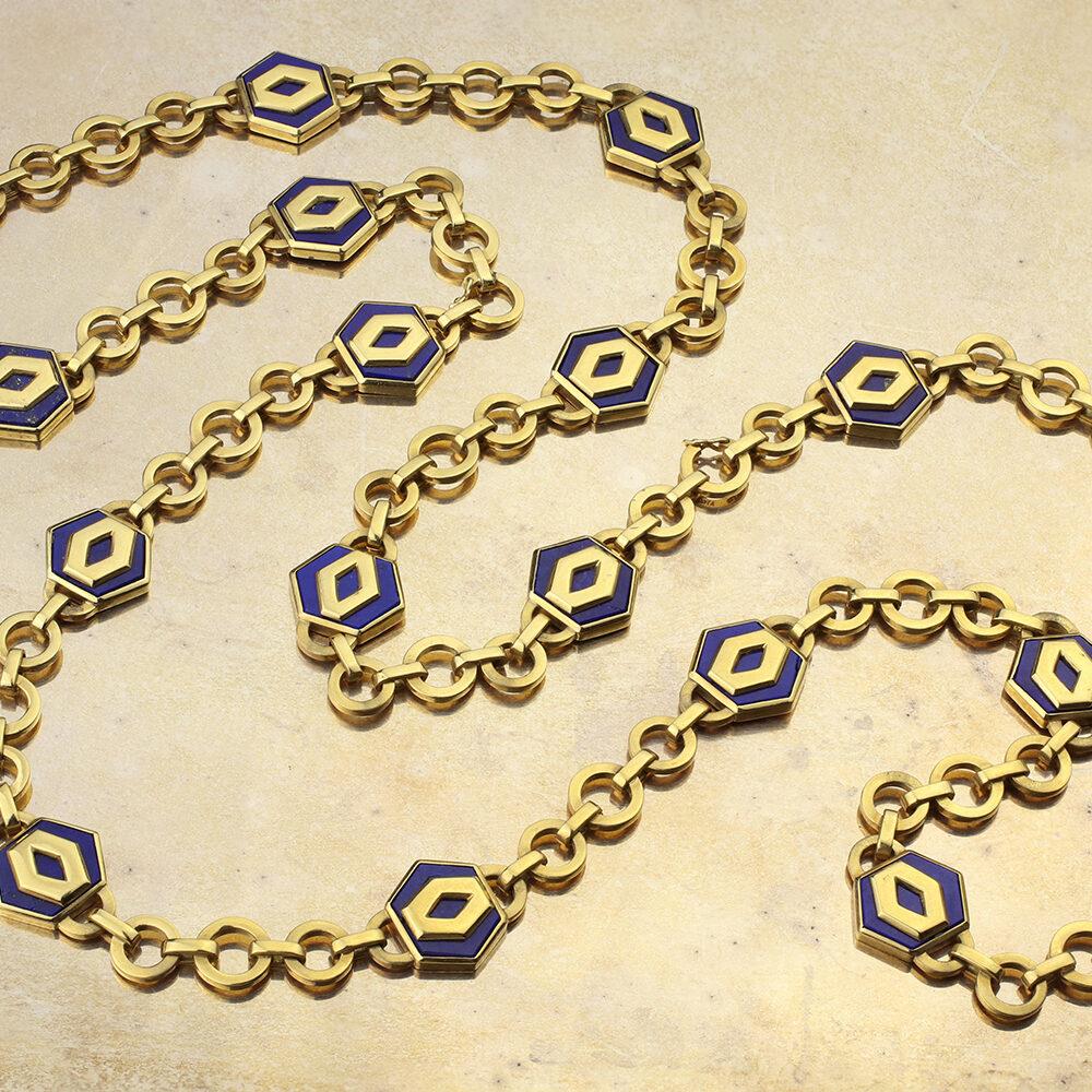 Bulgari Gold and Lapis Lazuli Long Chain Necklace