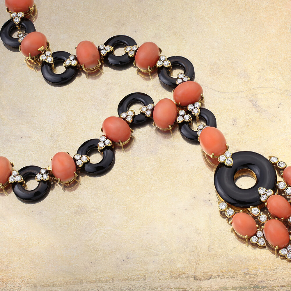 Van Cleef & Arpels Coral, Onyx and Diamond Necklace