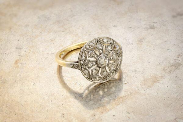 Edwardian Diamond Set Circular Plaque Ring