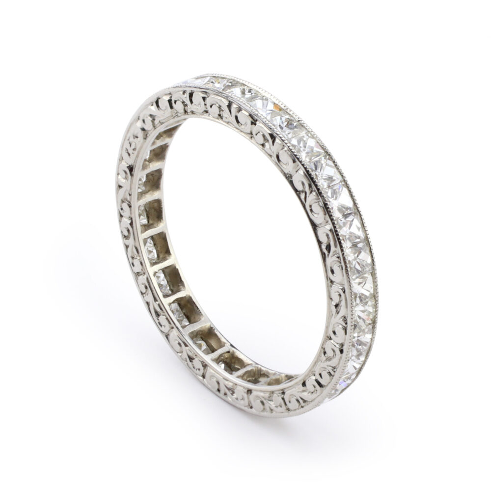French-cut Diamond and Platinum Band Ring