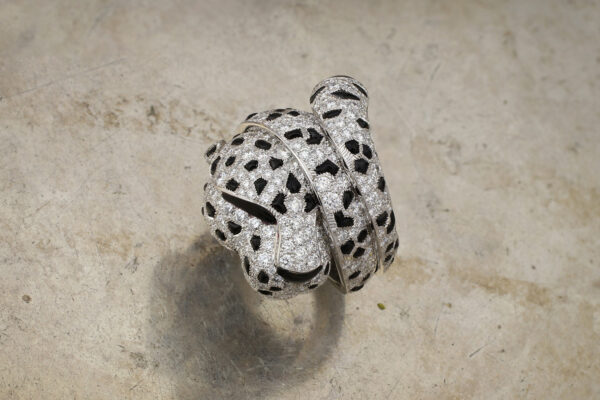 Cartier 'Panther' Diamond And Onyx Set Ring
