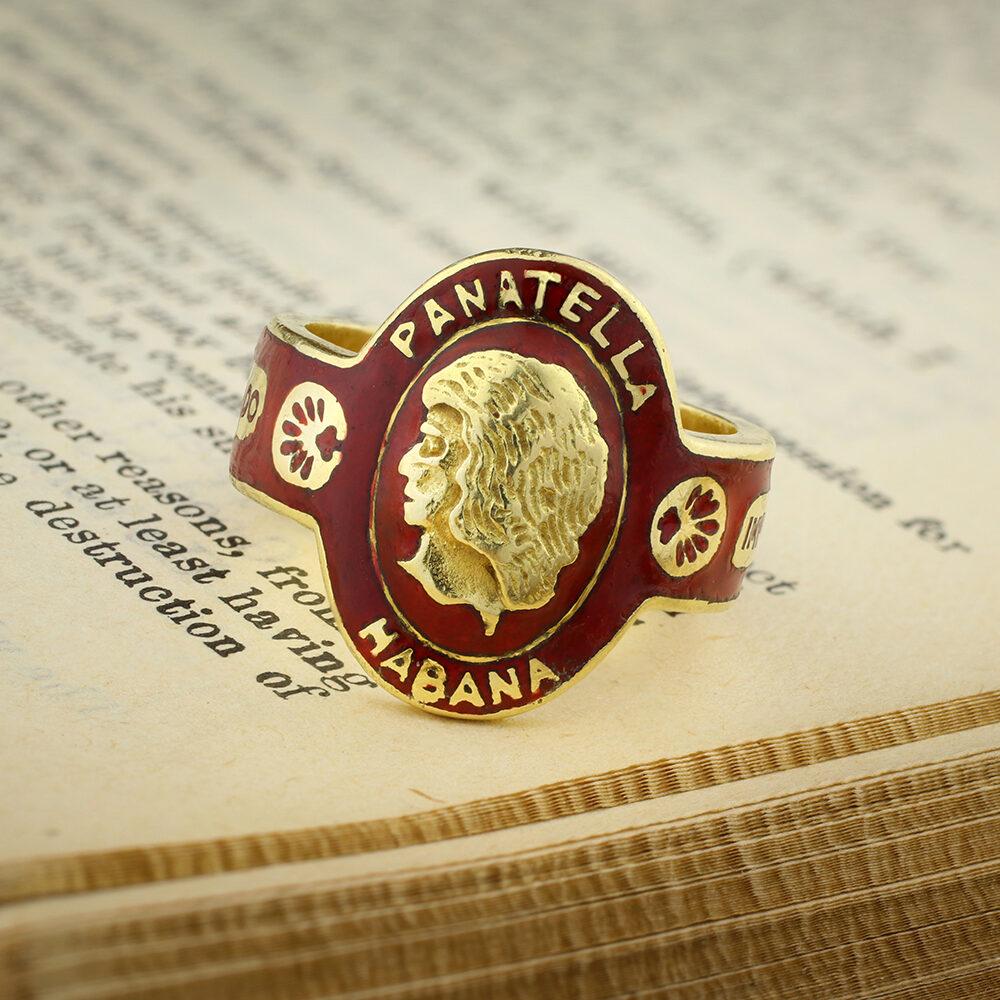 Cartier 'Panatella Habana' Gold and Enamel Cigar Band Ring
