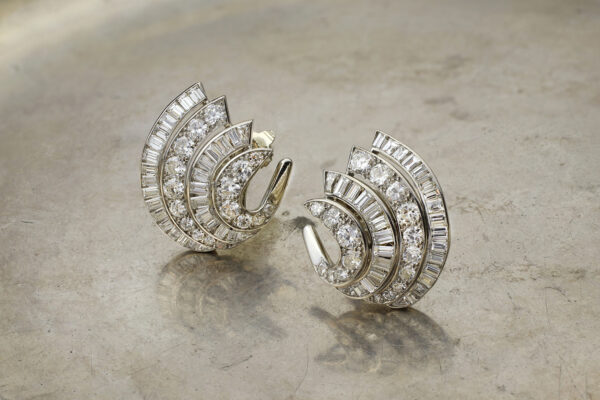 Van Cleef & Arpels Diamond And Platinum Ear Clips