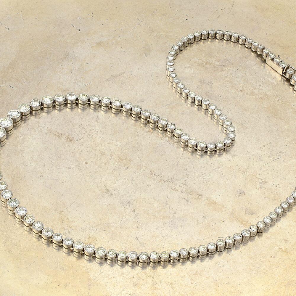 Diamond and Platinum Riviere Necklace, circa 1980