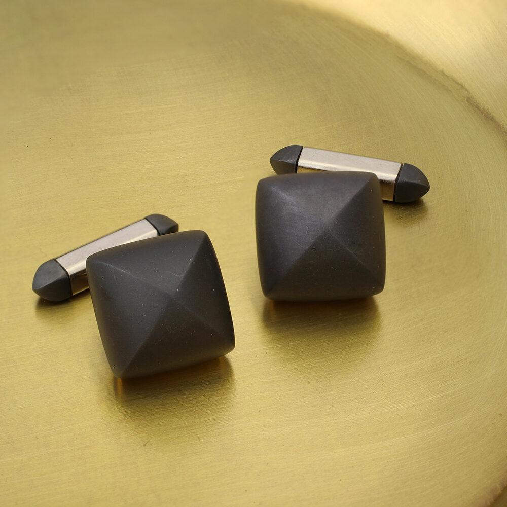 Hemmerle Blackened Iron Pyramid Cufflinks