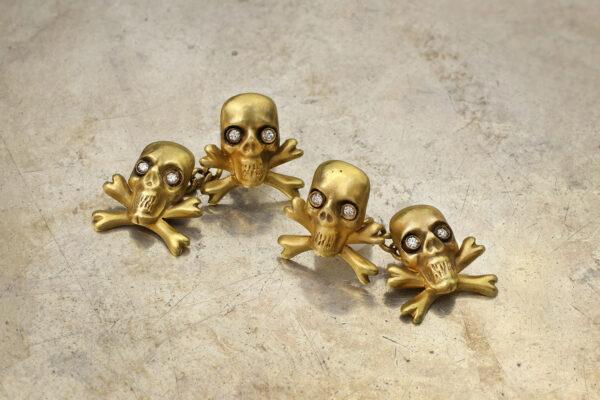 Gold And Diamond Skull And Cross Bone Cufflinks