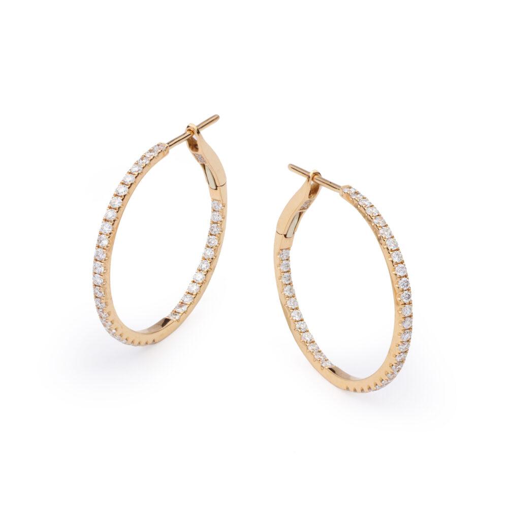 Rose Gold and Diamond Hoop Earrings