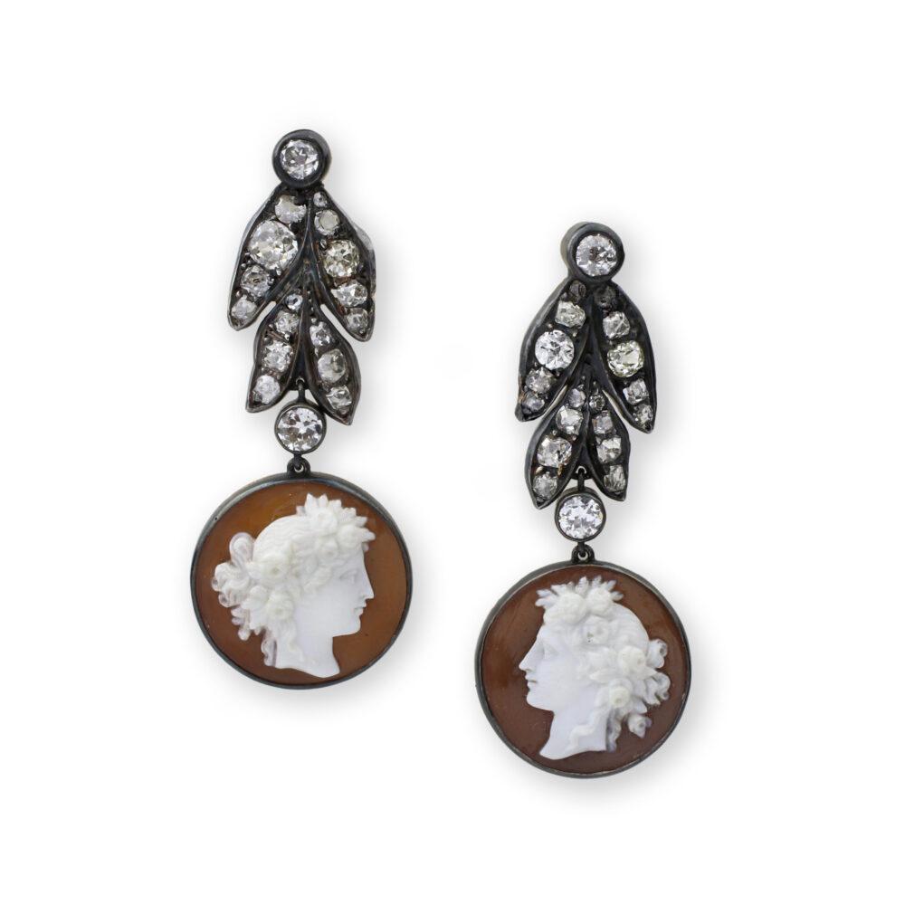 Agate Cameo and Diamond Ear Pendants