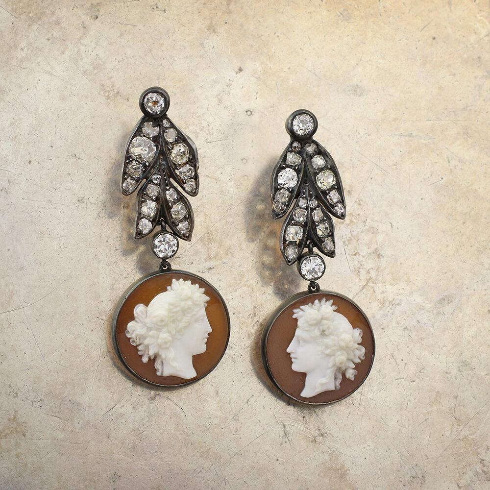 Agate Cameo and Diamond Ear Pedants