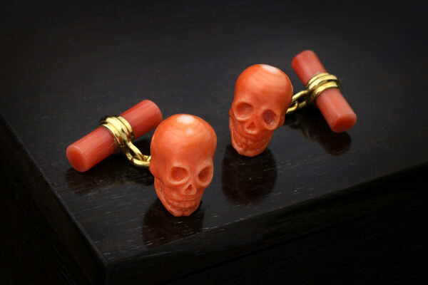Carved Coral And Gold Skull Cufflinks, Circa 1970