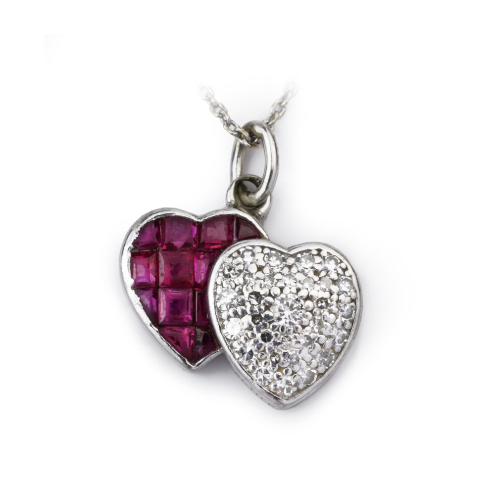 Cartier Diamond and Ruby Twin Heart Charm Pendant