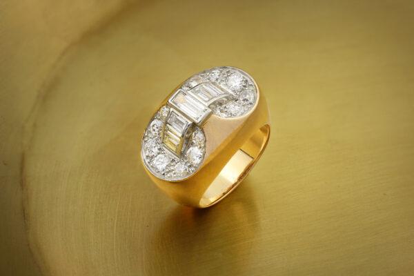 Diamond Set Platinum And Rose Gold Ring