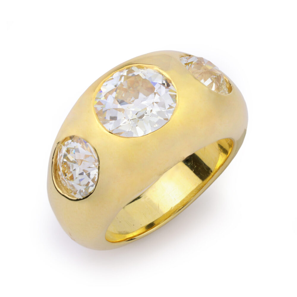 Three Stone Gypsy Set Diamond Ring