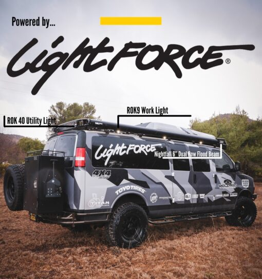 Chevy Express 4×4 van rear with lightforce lights