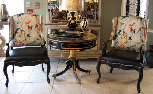 bird-and-leather-accent-chairs