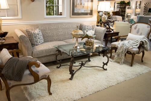 grey textured sofa with patterned accents