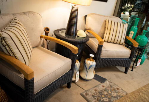 wicker style accent chairs with natural arm rests