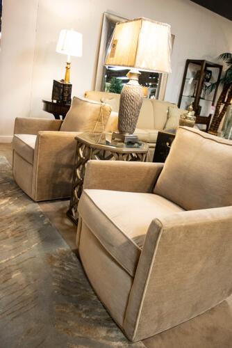 tan velvet classic chairs