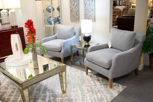 blue patterned accent chairs