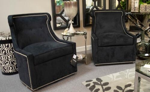modern black velvet accent chairs